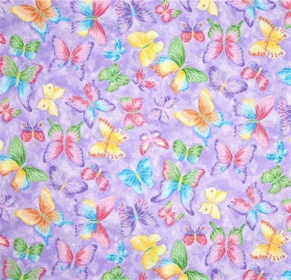 Schmetterlinge Glitter Stoff Flieder Butterflies