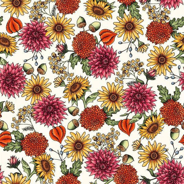 Herbst Blumen Stoff Sweater Weather Flower Cream