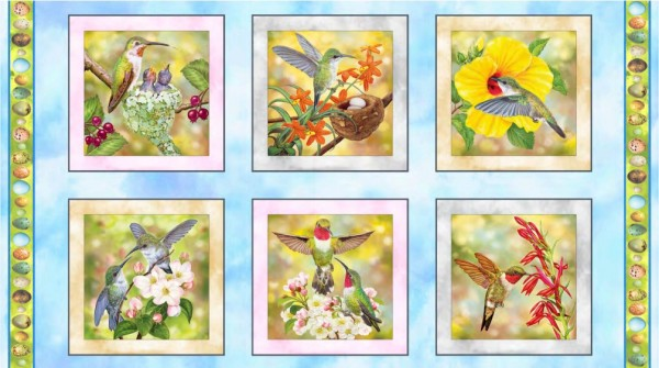 Kolibri Vögel Stoff Panel Hummingbird Garden Patches
