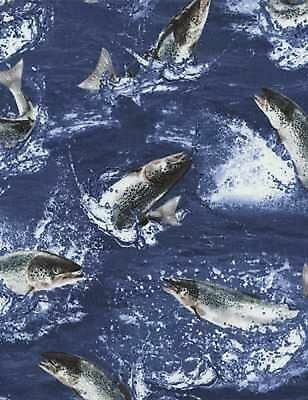 Fische Stoff Jumping Salmons Lachse
