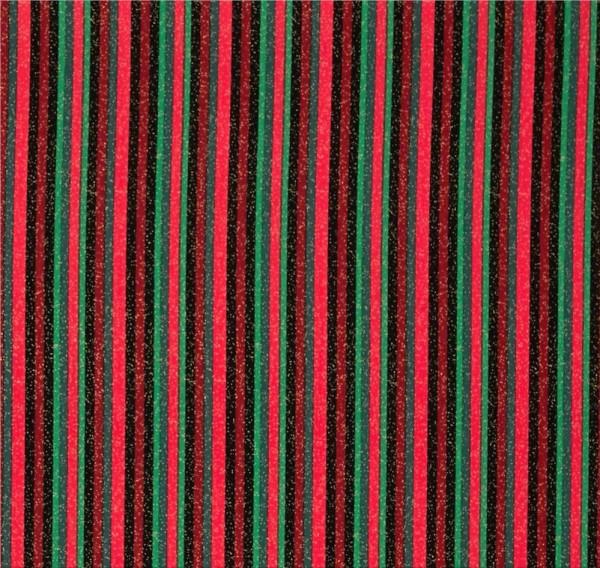 Christmas Morning Streifen Schwarz Rot Grün Stoff