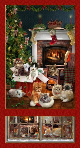 Fireside Kittens Panel Christmas Cats Katzen