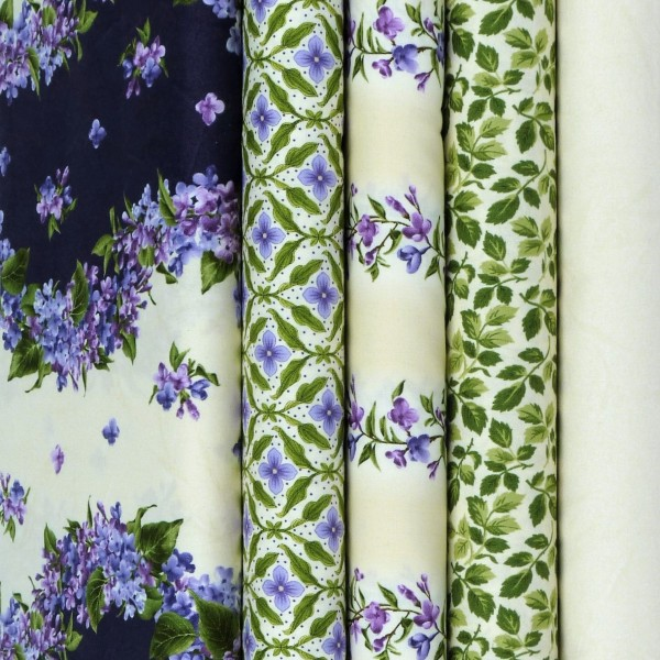 Fresh Lilacs Creme Patchwork Stoffe