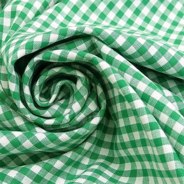 Baumwollstoff Karo Grün Weiß