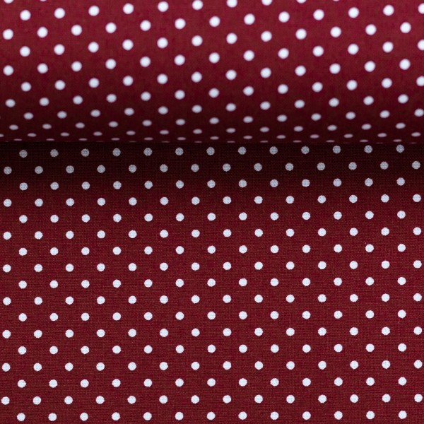 Baumwollstoff Punkte Bordeaux Rot Weiß