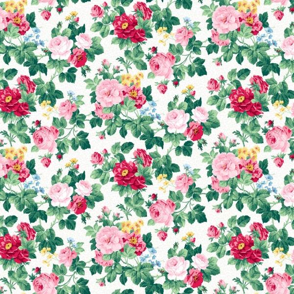 Blumenstoff Weiß Julia's Garden Floral