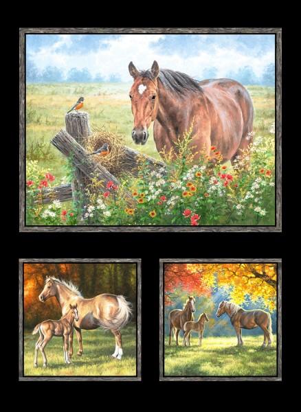 Pferde Stoff Panel Pastoral Song Horses