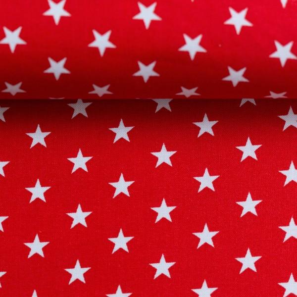 Baumwollstoff Sterne Rot Weiß