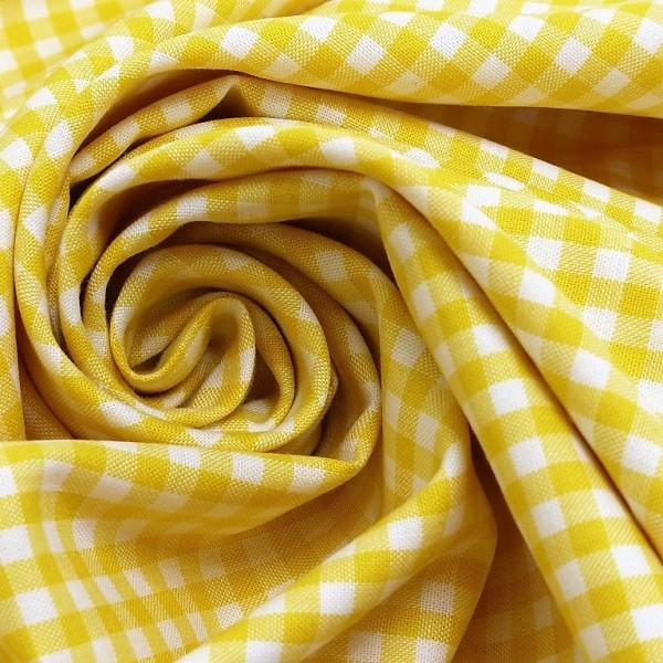 Baumwollstoff Karo Gelb Weiß