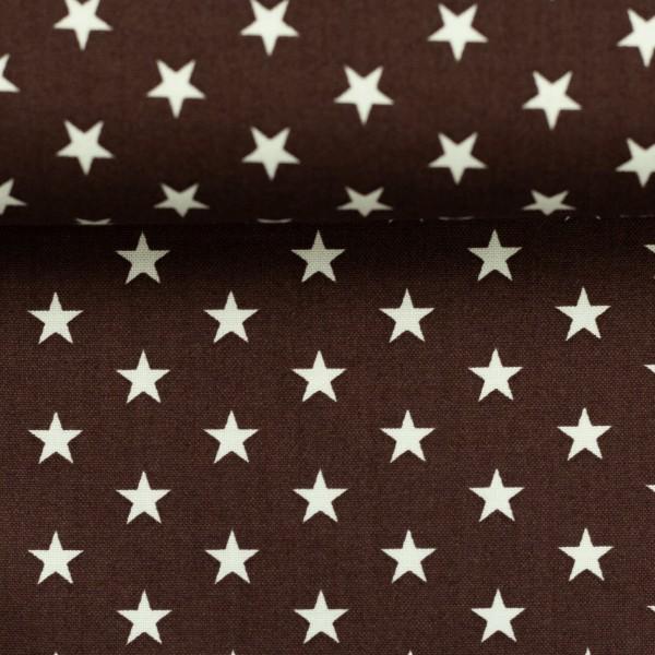 Baumwollstoff Sterne Dunkelbraun Weiß