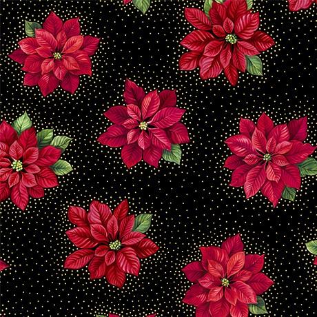 Patchworkstoff Poinsettia Grandeur Metallic Black Weihnachtsstoffe