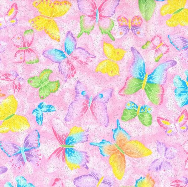 Schmetterlinge Glitter Stoff Pink Butterflies