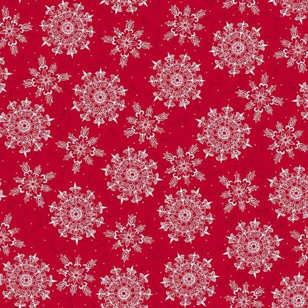 Schneeflocken Stoff Rot Pretty Holiday Weihnachten