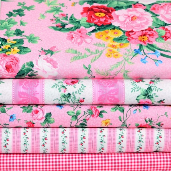 Julia's Garden Patchwork Stoffpaket Pink