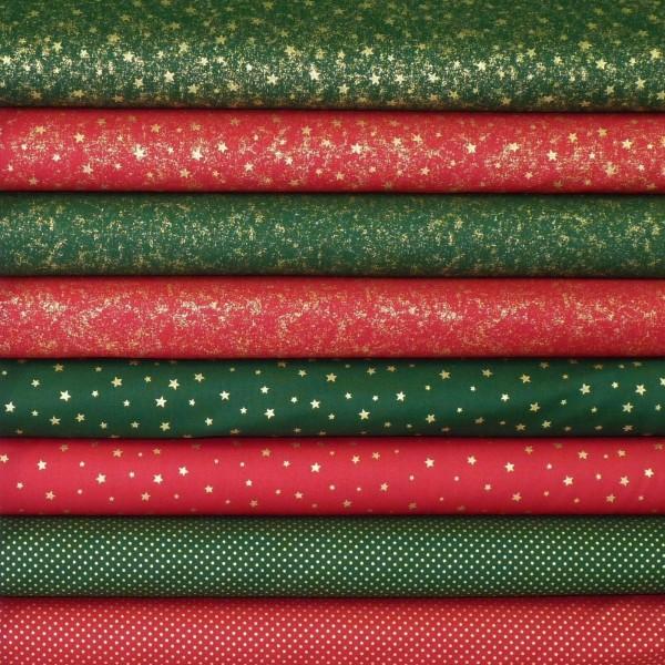 Stoffpaket Weihnachten Rot Grün Metallic