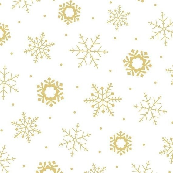 Schneeflocken Stoff Weiß Gold Weihnachten Holiday Metals