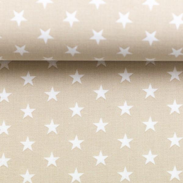 Baumwollstoff Sterne Beige Weiß