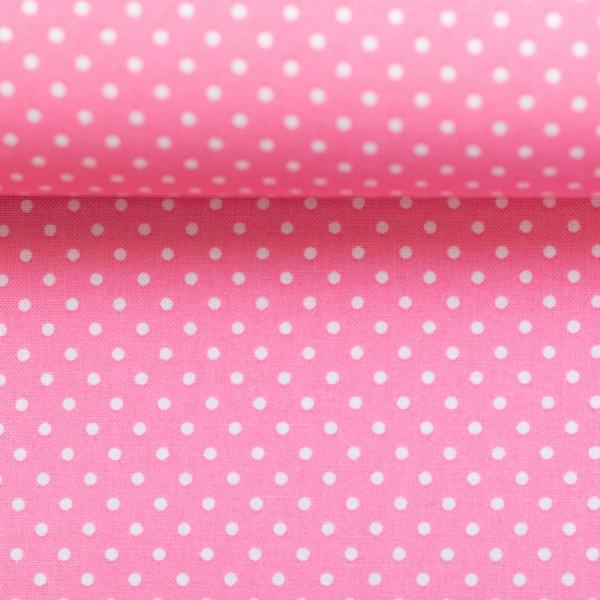 Baumwollstoff Punkte Rosa Weiß
