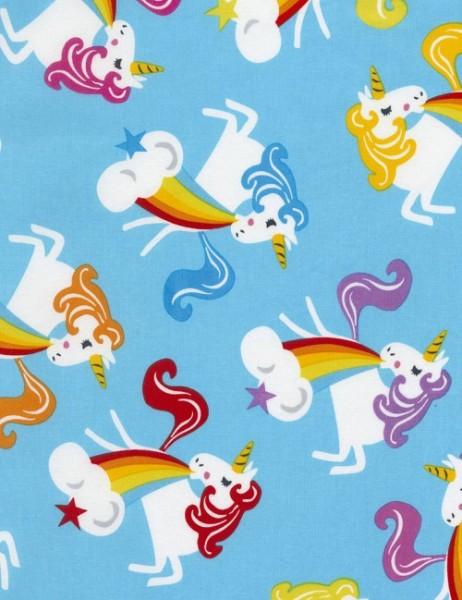 Kinderstoff Aqua Unicorn & Rainbows Einhörner Regenbogen