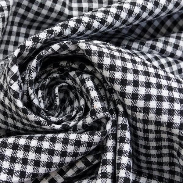 Baumwollstoff Karo Schwarz Weiß