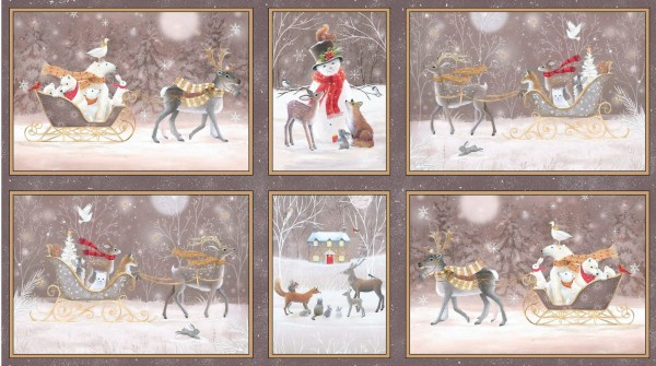 Woodland Dream Winter Patches Beige Stoff Tiere Weihnachten