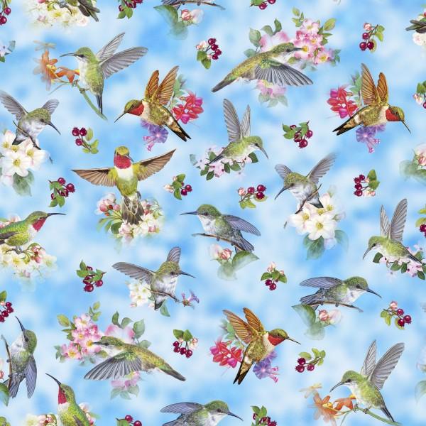 Kolibri Vögel Stoff Hummingbird Garden Birds Blue