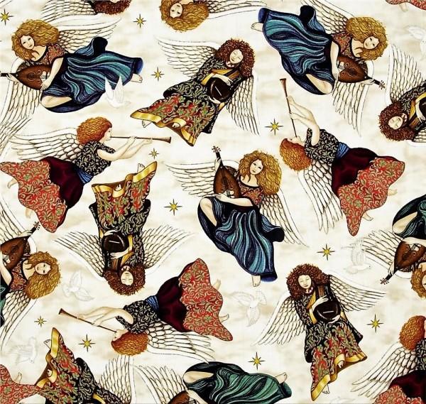 Heavenly Angels Creme Engel Patchworkstoff Weihnachten