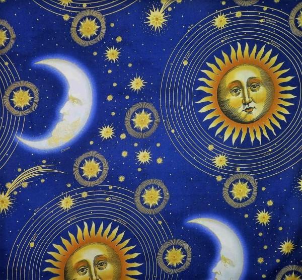 Patchworkstoffe Sonne, Mond und Sterne Blau