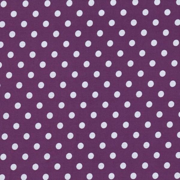 Baumwollstoff Dots 7mm Lila Weiß