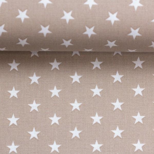 Baumwollstoff Sterne Camel Weiß