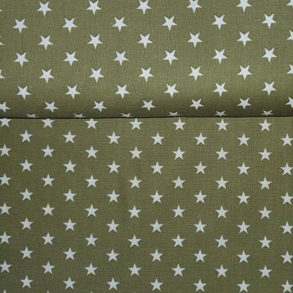 Baumwollstoff Sterne Olivgrün Weiß
