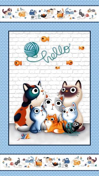 Hello Katzen Stoff Panel Feline Friends
