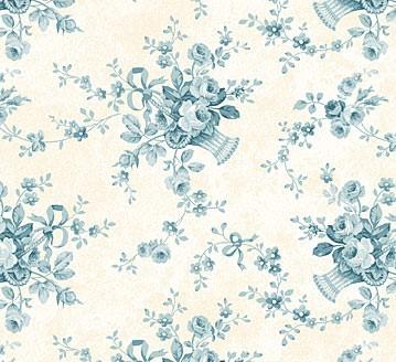 Blumenbukett Stoff Blau Vintage Rose