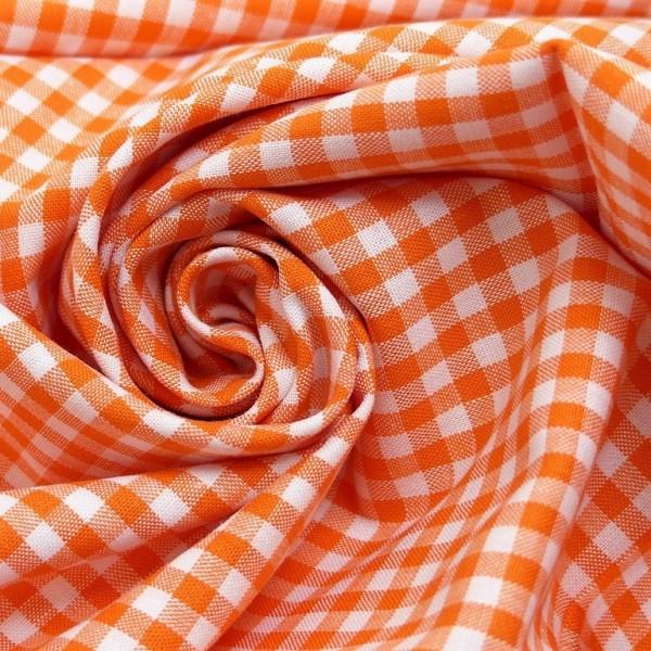 Baumwollstoff Karo Orange Weiß