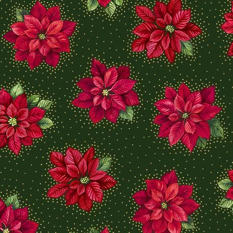 Patchworkstoff Poinsettia Grandeur Metallic Green Weihnachtsstoffe
