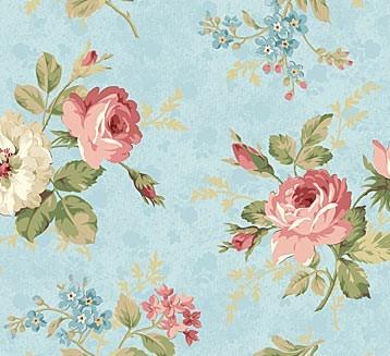 Blüten Stoff Blau Vintage Rose