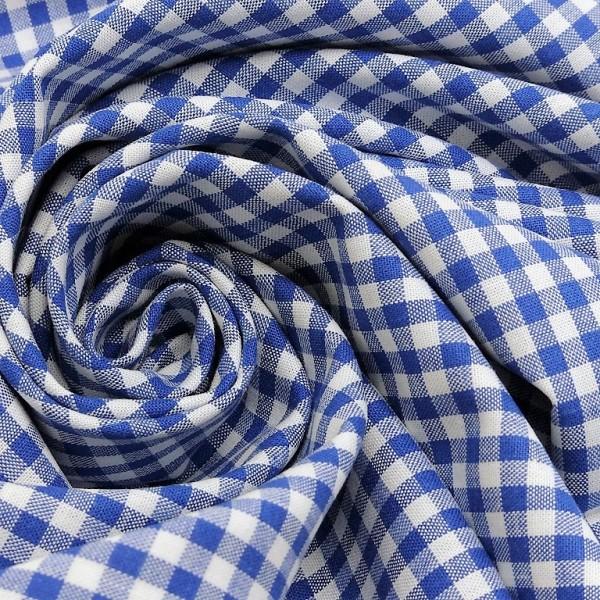Baumwollstoff Karo Royal Blau Weiß