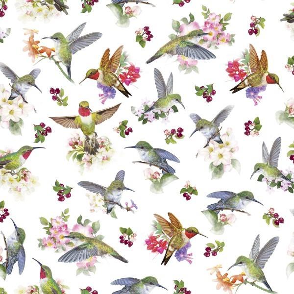 Kolibri Vögel Stoff Hummingbird Garden Birds White