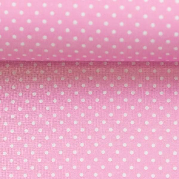 Baumwollstoff Punkte Hellrosa Weiß