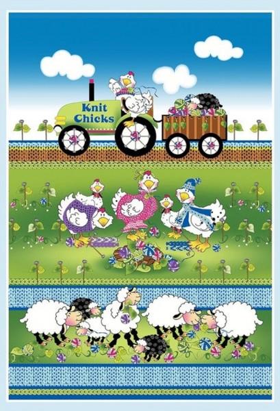 Knit Chicks Schafe Hühner Panel