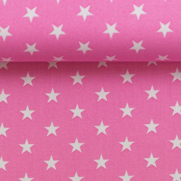 Baumwollstoff Sterne Rosa Weiß