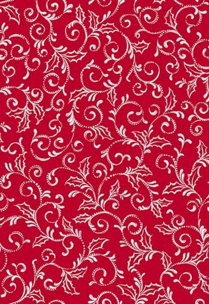 Ranken Stoff Scroll Rot Weiss Pretty Holiday Weihnachten