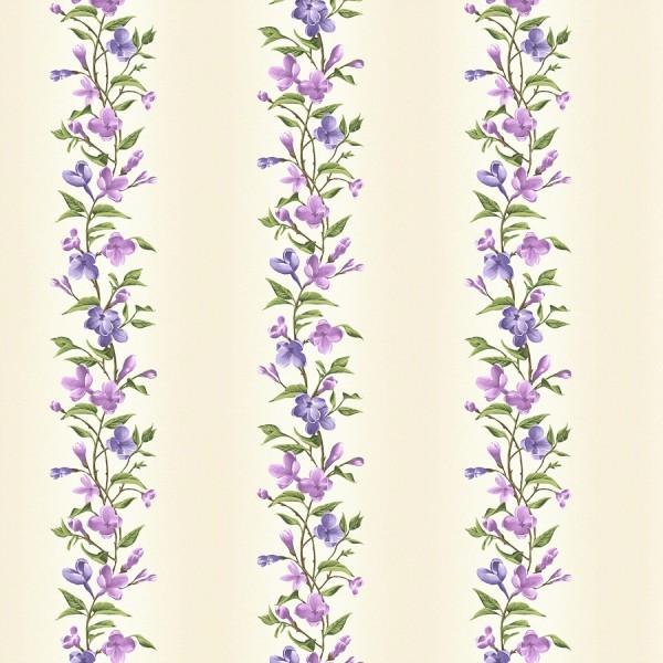 Blumen Ranken Stoff Creme Fresh Lilacs