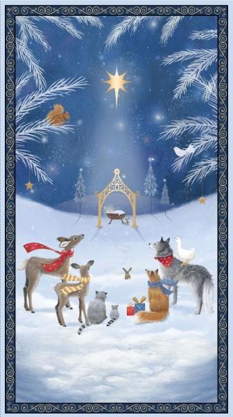Woodland Dream Panel Blau Stoff Tiere Weihnachten