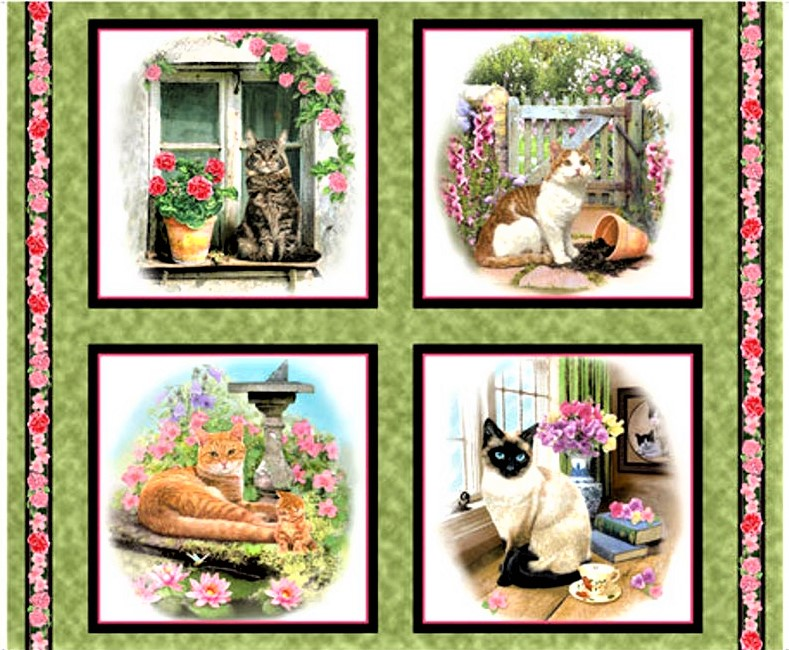 Full Moon Cats Katzen Gold Tiermotive Patchwork Stoffe Patchworkstoffe Tiere