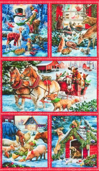 Tiere Weihnachten Panel Snow Pals