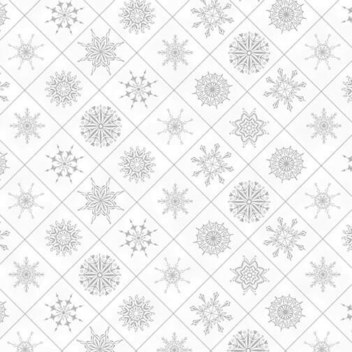 Schneeflocken Stoff Weiß Holiday Lane Snowflakes in Boxes White