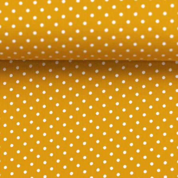 Baumwollstoff Punkte Senf Gelb Weiß