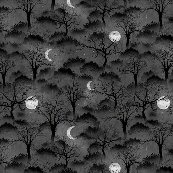 Halloween Stoff Black Trees & Moons Frightful Nights