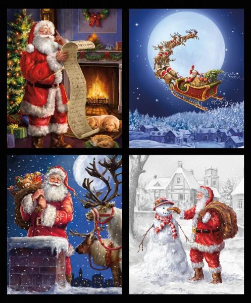 Weihnachtsstoff Kissen Panel Christmas Time Is Here Digitaldruck